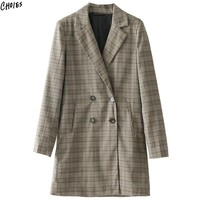 Khaki Plaid Notched Lapel Long Line Blazer Women Long Sleeve Pockets Front Buttons Cuffs Double Breasted Autumn New Outwear