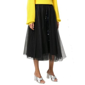 No. 21 Gabi Black Embellished Tulle Midi Skirt