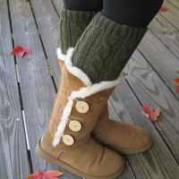 Hand Knit Leg Warmers - Boot Cuffs - Boot Cover - 100% Wool - Cabled - Uggs - Deep Olive Or CHOOSE YOUR COLOR