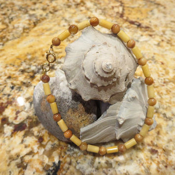Bamboo Ankle Bracelet Anklet Beach Quartz, Tigers eye, Charm Summertime Jewelry Sun tan Casual Bohemian Chic