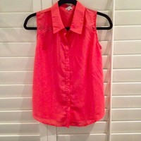 Coral Sleeveless Button Up
