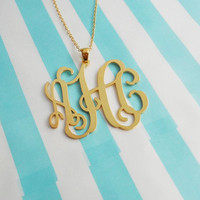 3 Initials Pendant Necklace 1.5 inch,Custom Monogram Necklace,Monogram Script Necklace,Nameplate Necklace Gold,Bridesmaids Gift