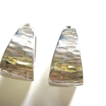 Textured Sterling Hoop Earrings Leverback