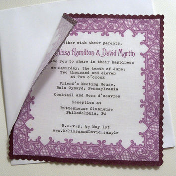 Lace wedding invitation on cotton fabric with printed border and hand painted edge - 25