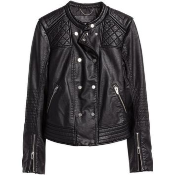 Mens Leather Jacket Double Breasted Quilted with Snap on Buttons
