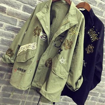 DCCKJ1A Fadhion cute  dark green frock coat embroidered patch rivet coat LOWEST PRICE