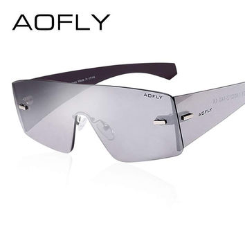 AOFLY Rimless Sunglasses Mirror Glasses women Goggles