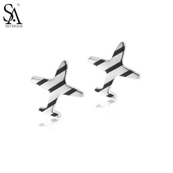 SA SILVERAGE Real 925 Sterling Silver Stud Earrings for Women Fine Jewelry Striped Airplane 2017 New Arrival
