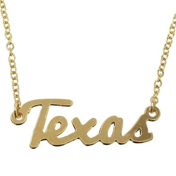 Kris Nations State Pride Collection Texas Script Necklace Gold
