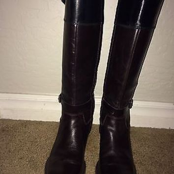 Enzo Angiolini Eero Leather Riding boots size 7 black brown colorblock