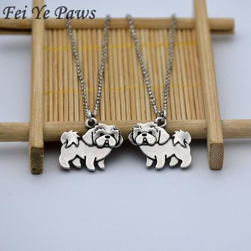 Vintage Silver Shih Tzu Pendant Love Necklace Stainless Steel Long Chains The Bead Dog Couple Necklaces For Women Men Jewelry