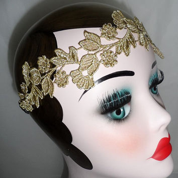 costume vintage charleston flapper lace Great Gatsby downton abbey fancy dress wedding ladies hair head band