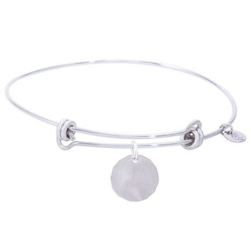 Sterling Silver Balanced Bangle Bracelet With Plain Charm Tag Charm