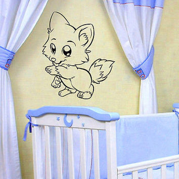 WALL DECAL VINYL STICKER CARTOON ANIMAL FUNNY FOX ROOM NURSERY DECOR SB275