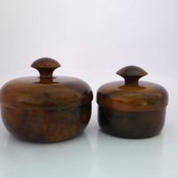 Pair Myrtlewood Boxes, Two Wooden Boxes, Wood Boxes with Lids, Oregon Myrtle Wood