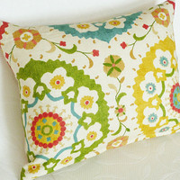 Suzani Pillows  Colorful Decorative Pillows by PillowThrowDecor