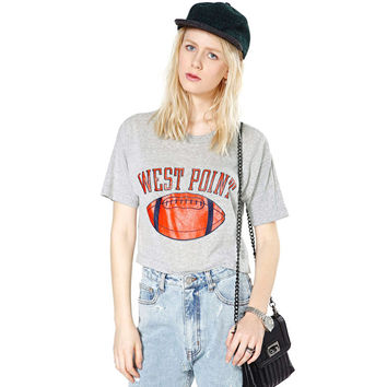 Ball And Letter Printed Crop Top Shirt