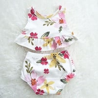 Baby Girls Clothes Set Outfits Clothes Crop TanK Tops Flower Cute T Shirt Shorts Bottom Pants Clothing 2PCS Sets