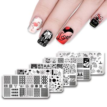UR SUGAR 1Pc Valentine's Day Theme Stamping Template Unicorn Flamingo Triangle Wave Line Rose Flower Nail Art Manicure Plate