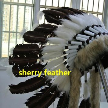 Free shipping dark brown Indian Feather headdress handmade war bonnet american costumes indian chief feather hat