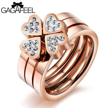 GAGAFEEL Lucky Grass Ring Women Jewelry For Wedding Party Three Sets Ring Stainless Steel Cubic Zirconia Rose Gold Color Bijoux
