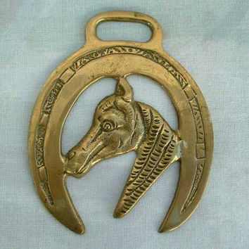 Horse Brass Equestrian Horseshoe Head Good Luck Animal Accessory
