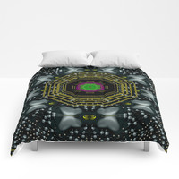 Leaf earth and heart butterflies in the universe pop art Comforters by Pepita Selles