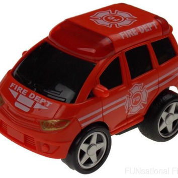 Red 4WD Fire Department Dept Truck Pull Back Car Lot 5 Toy Party Favor Move Runs