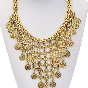 Antique Charm Chain Linked Statement Necklace