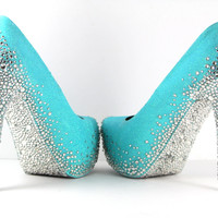 Tiffany Blue Heels with Swarovski Crystals (Multiple Color Choices)