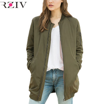 RZIV winer long  jackets and coats 2017 female coat casual long section of solid color bomber jacket women