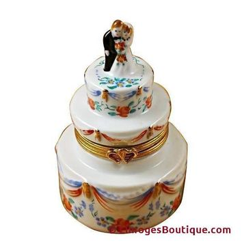 WEDDING CAKE W/ FLOWERS LIMOGES BOXES