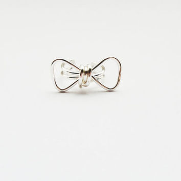 Ear Cuff Silver Bow Geometric Ear Wrap Earcuff