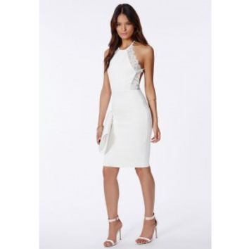 Missguided - Juliet Scuba Lace Trim Midi Dress White