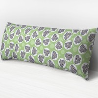 Green Elephant Body Pillow -  Gray Elephant over Light Green Pattern - 20 x 54 Body Pillow or Body Pillow Cover - Made to Order
