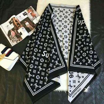Gotopfashion LV Louis Vuitton X Supreme Fashion Woman Accessories Cape Scarf Scarves Black I-TMWJ-XDH