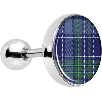 """16 Gauge 1/4"""" Holiday Blue Green Plaid Tragus Cartilage Earring"""