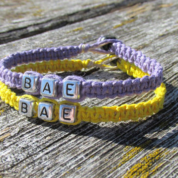 BAE Couples Bracelets, Set of Two, Lavender Purple and Yellow Hemp Jewelry