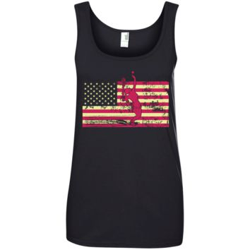 Female Tennis Player Silhouette On The American Flag Ladies' 100% Ringspun Cotton Tank Top