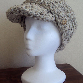 Crocheted Women's Newsboy Cap / Hat with Brim