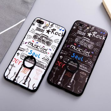 Luxury Rock Music Hard Back Fundas Phone Cases for iPhone X 8 7 6 6S Plus 3D Guitar Piano Cover With Finger Ring Holder
