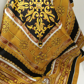 """Gold Scarf Equestrian Theme 29"""" Square Gold Navy Classic Design"""