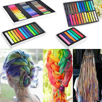 Easy Temporary  Non-toxic Hair Chalk Dye Soft Hair Pastels Kit 6/12/24/36 Colors