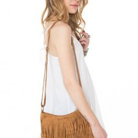 Brandy ♥ Melville |  Brown Double Fringe Purse - Accessories