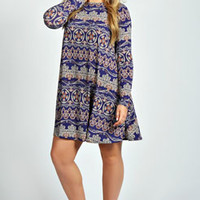 Donna Paisley Long Sleeve Swing Dress
