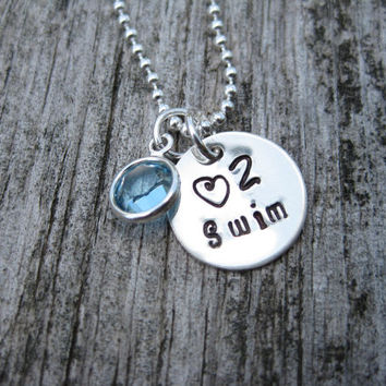 Swim Necklace Swimmer Personalized Birthstone Sterling Silver Hand Stamped Diving Swim Team Coach Graduation Gift