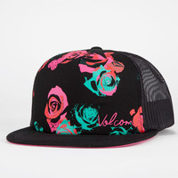 Volcom Floral Womens Trucker Hat Black/Red One Size For Women 21246612601
