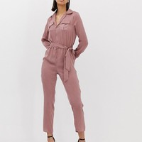 Missguided utility jumpsuit in rose pink | ASOS