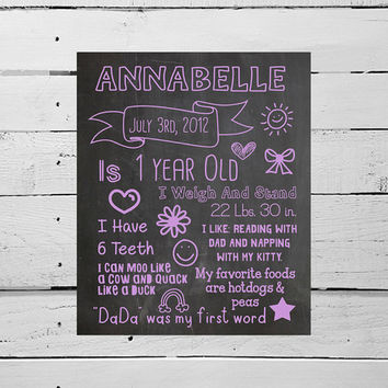 HUGE PRINTABLE First Birthday Poster Digital Chalkboard Birthday Art, Babies Favorite Things Stats Poster, First Birthday Photo Prop Bday