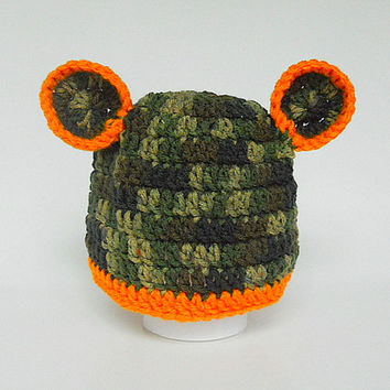 Baby Boy  Camouflage Hat With Orange Trim Green Camo Infant Girl  Cap With Ears  Infant 3 To 6 Months  Children  Fall Hunting Beanie